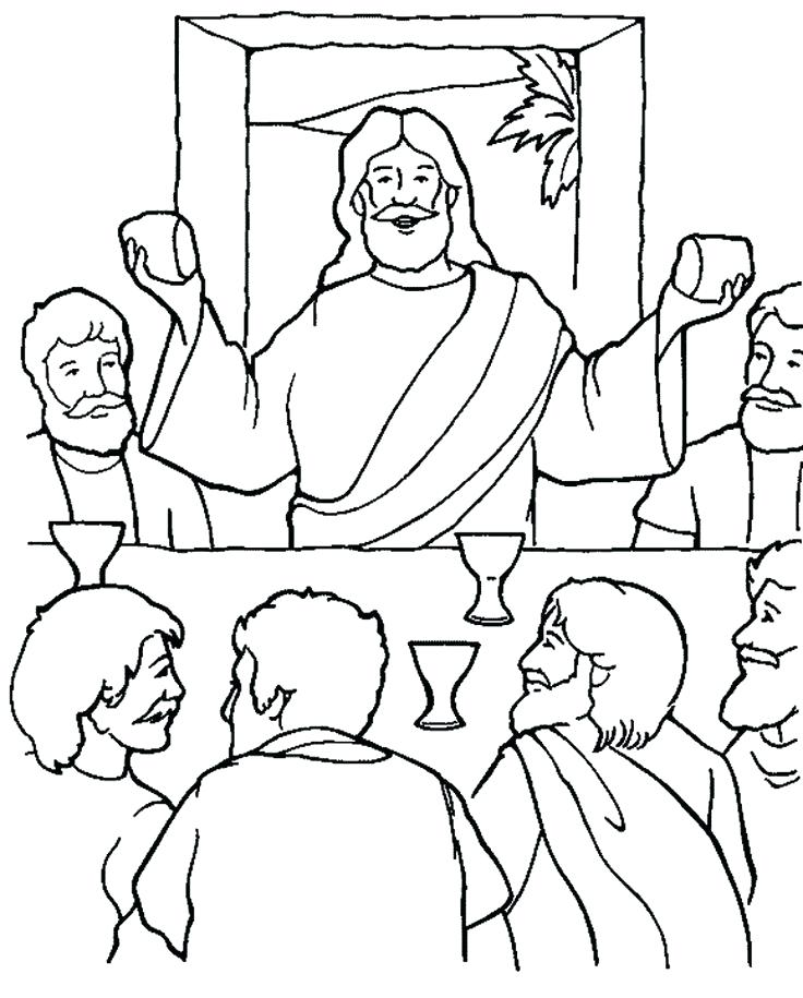 736x915 Holy Week Coloring Sheets The Last Supper Coloring Page Holy Week