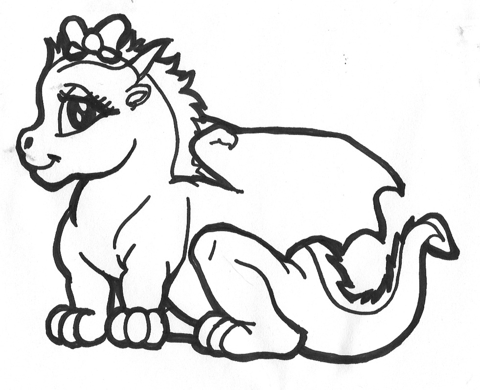 981x798 Cute Dragon Coloring Pages