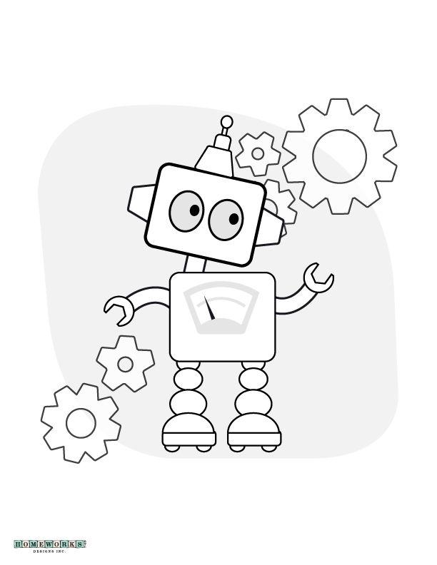 612x792 Robot Coloring Page Printable Homeworks Etc