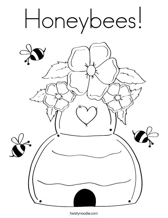 685x886 Honeybees Coloring Page