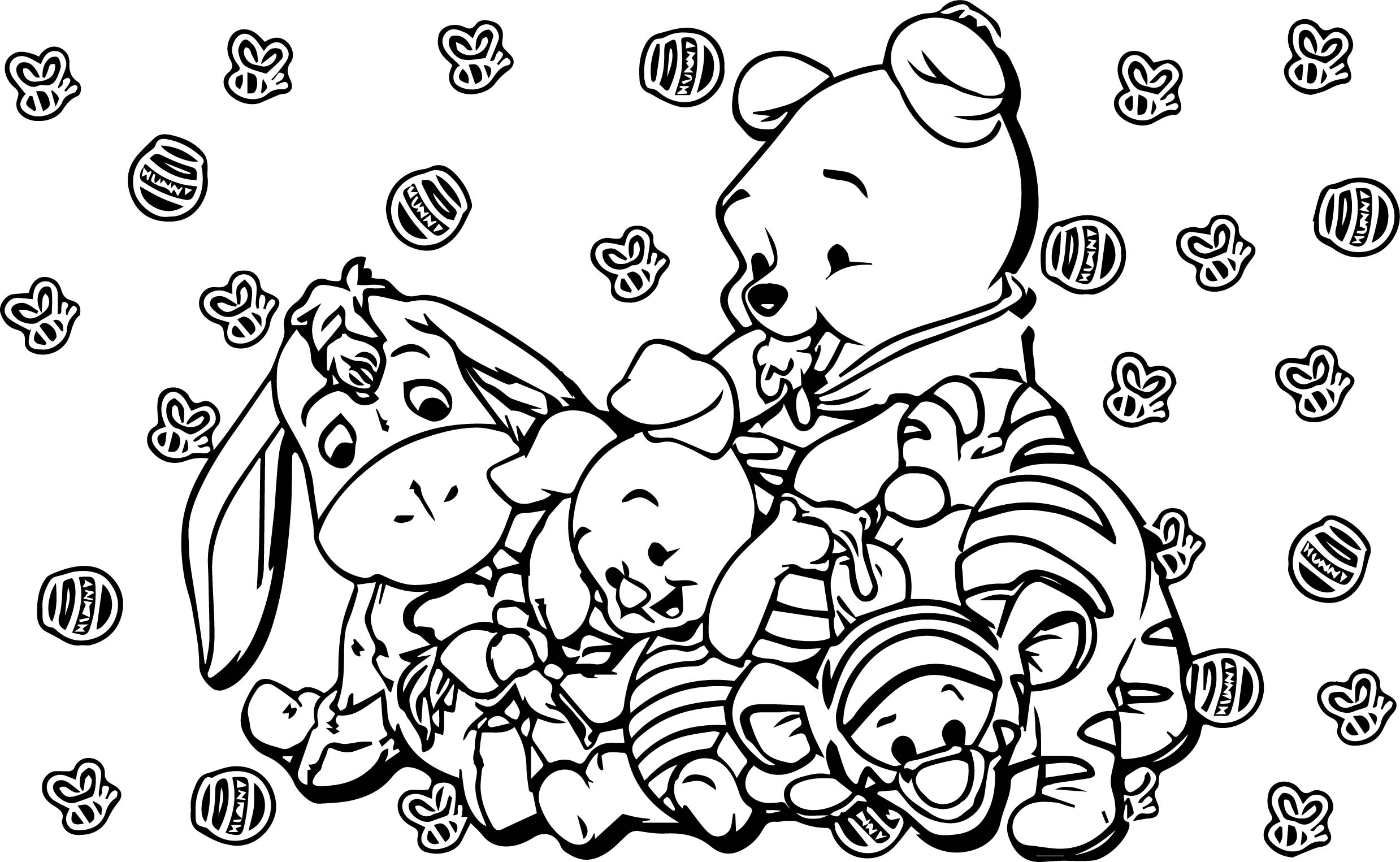 2477x1525 Baby Piglet Winnie The Pooh Honey Bee Coloring Page Wecoloringpage