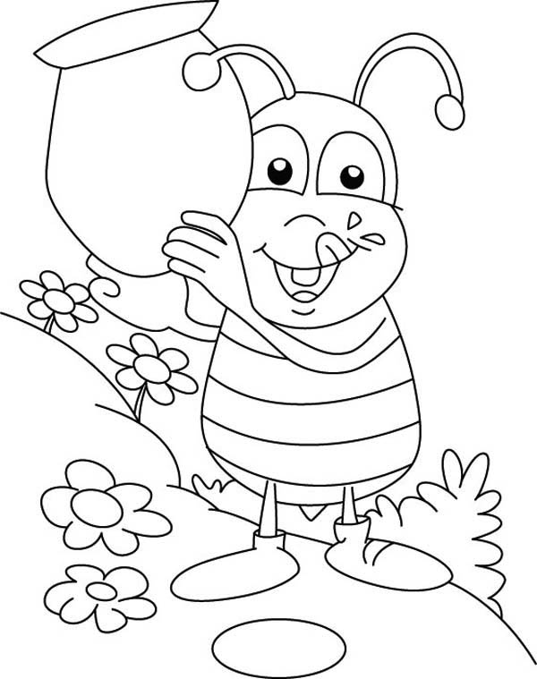 600x759 Fat Bumblebee With A Big Jar Of Honey Coloring Page