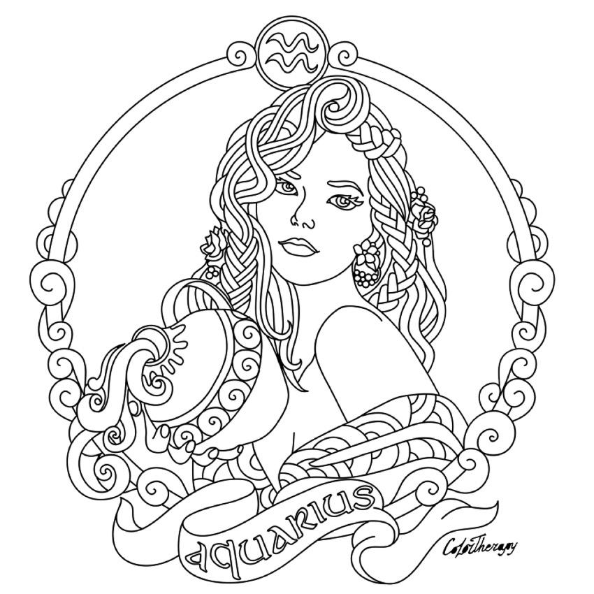 850x850 Aquarius Zodiac Beauty Colouring Page Parchment Craft