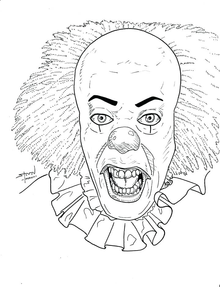Pennywise the Clown Coloring Pages Portraits Horror Movies ... | 937x720
