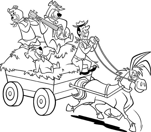 600x524 Yogi Bear And Friends Ride Horse Carriage Coloring Pages Batch