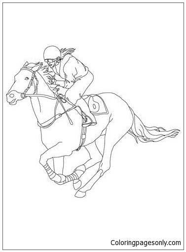 377x509 Jockey On A Galloping Horse Coloring Page