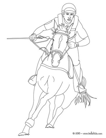 364x470 Jockey On A Galloping Horse Coloring Pages