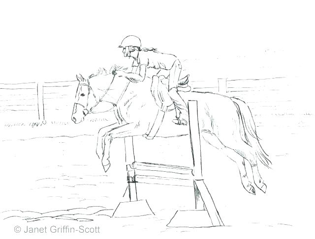 640x487 Horse Riding Coloring Pages Jumping Horse Horse Riding Colouring