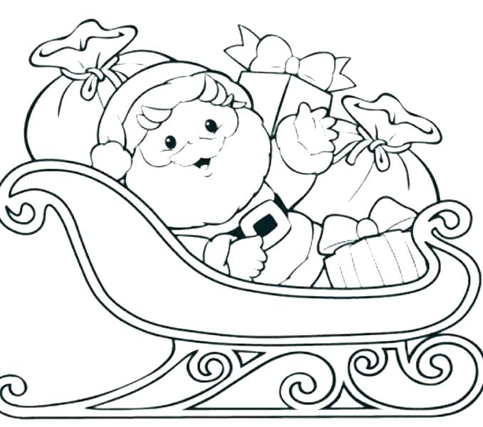 678x600 Santa And Sleigh Coloring Pages Printable Deepart