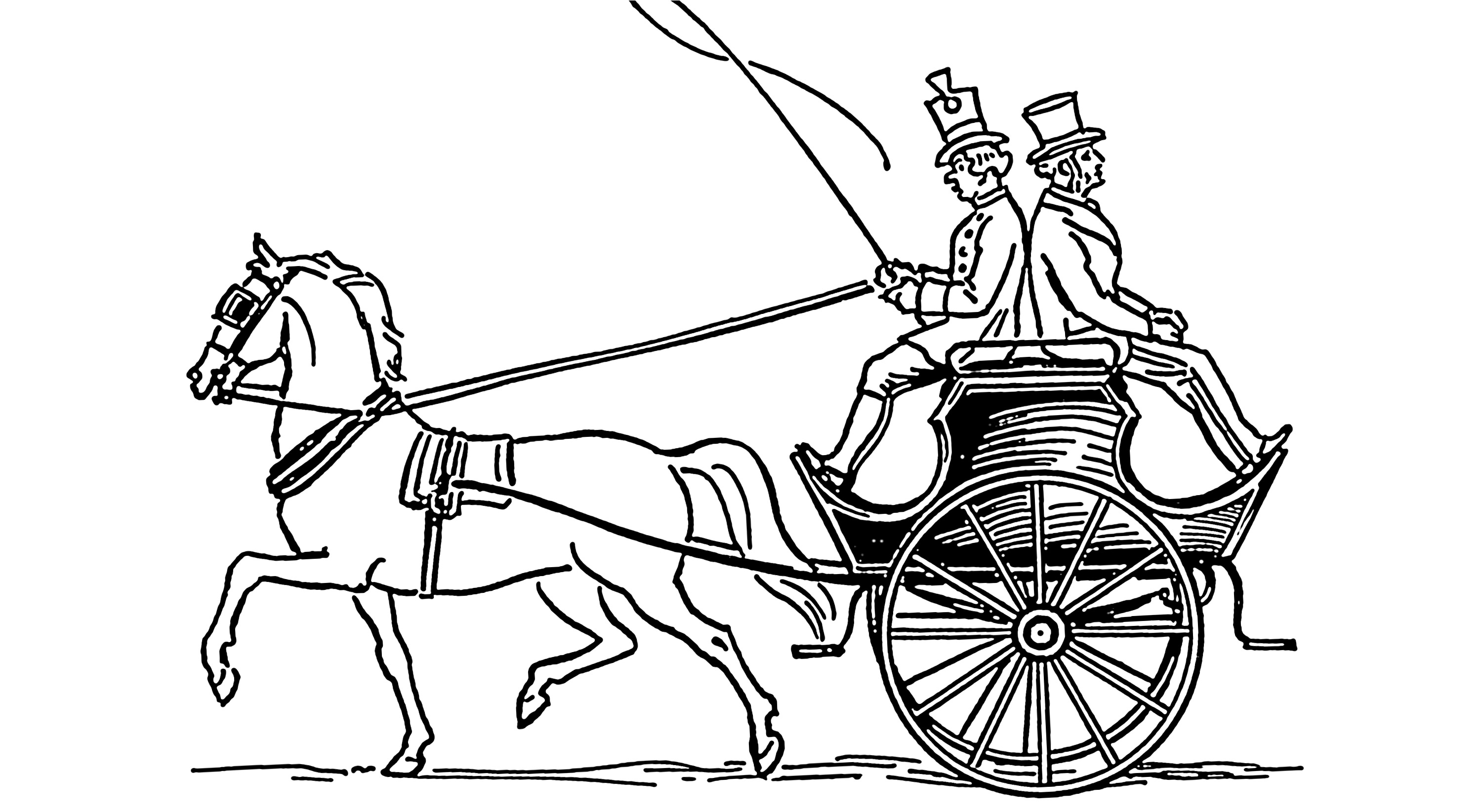 3000x1645 Horses Coloring Page And Wagon Image Clipart Images