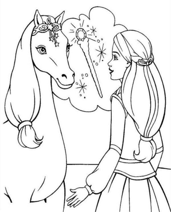 600x742 Barbie Horse Coloring Page