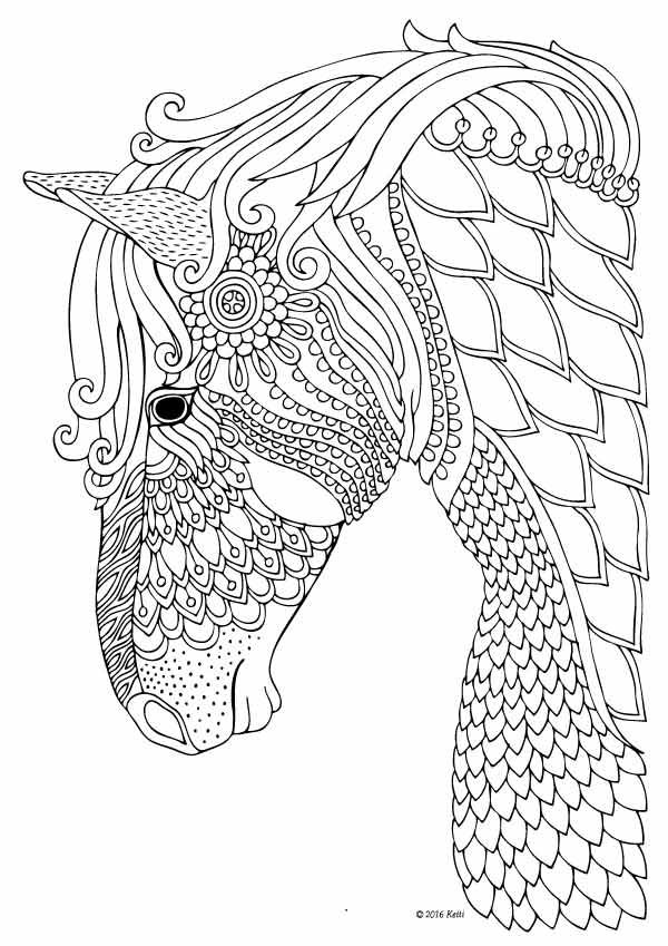 600x849 Horse Coloring Page For Adults