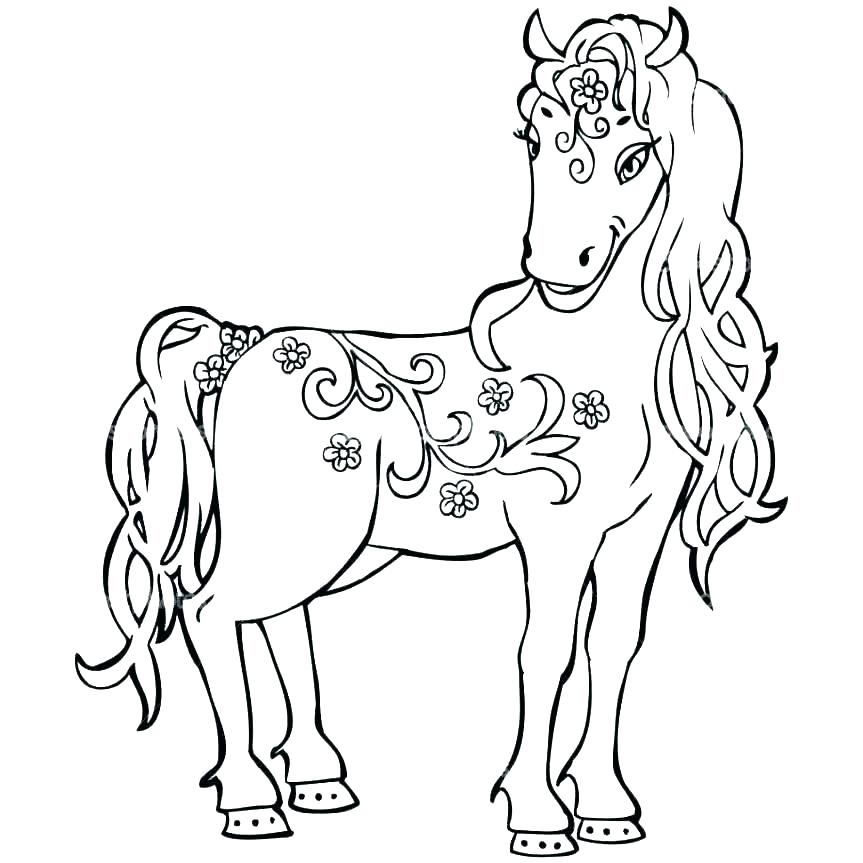 863x863 Colouring Pages Horses Printable Free