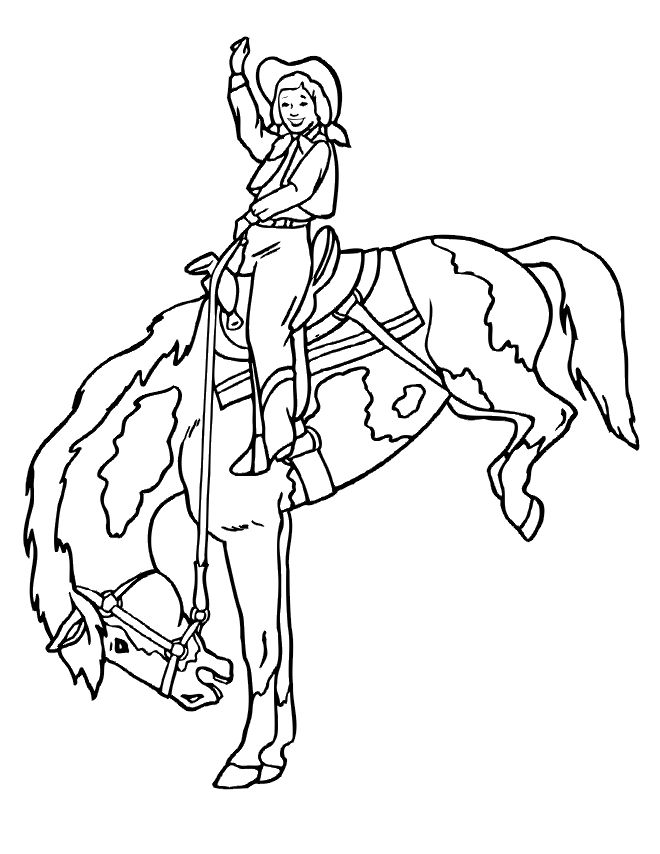 660x854 Girl Riding A Horse Free Coloring Page Animals, Kids Coloring Pages