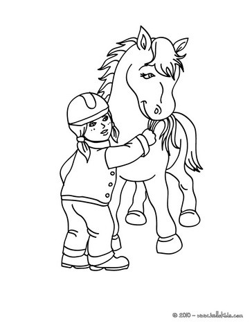 364x470 Girl Feeding A Horse Coloring Pages