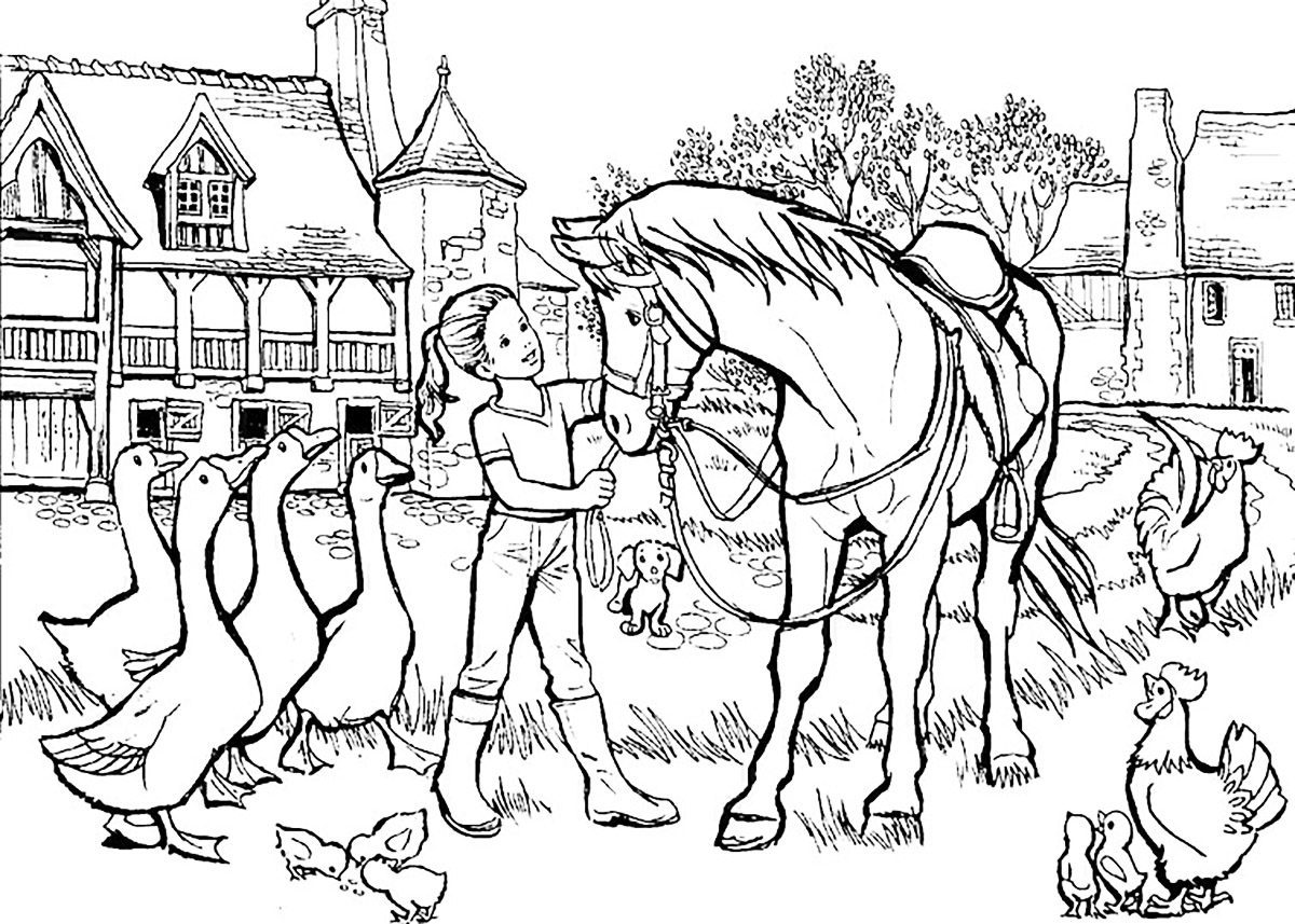 1200x857 Girl With Horse And Other Animals Lot Of Details