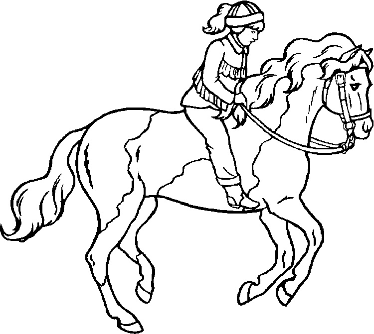750x671 Girl Riding Horse Coloring Pages