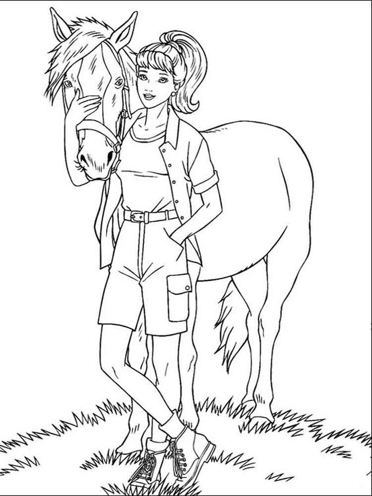 750x1000 Barbie And Horse Coloring Pages Free Printable Barbie And Horse