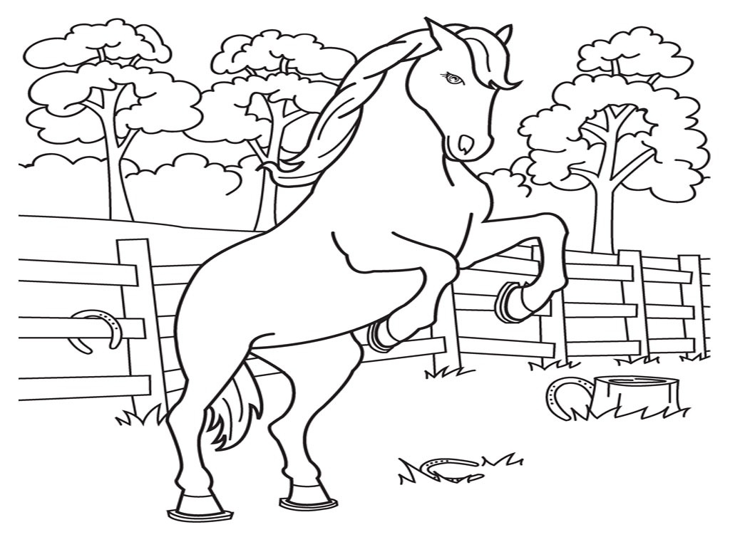 1024x768 Printable Coloring Pages For Kids Horses World Of Printable