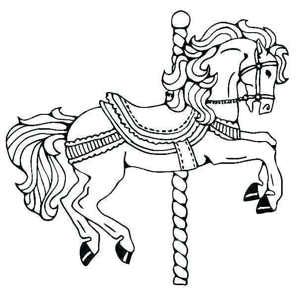 600x600 Horse Coloring Pages Printable Also Carousel Horse Coloring Pages