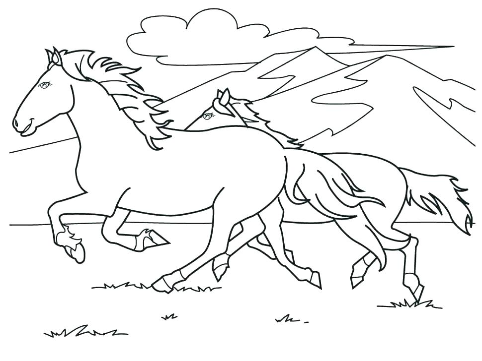 970x728 Horse Head Coloring Page