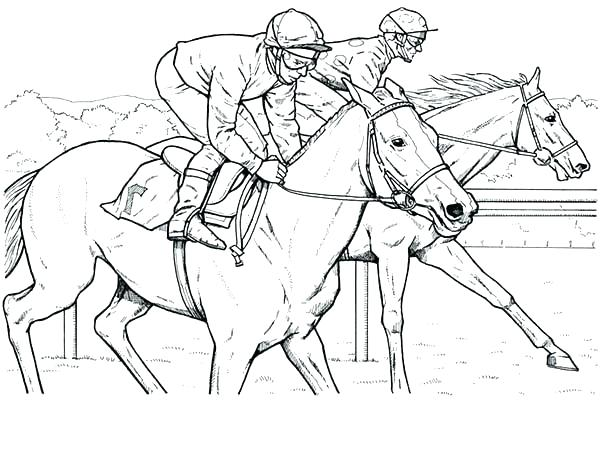 600x468 Horse Racing Coloring Pages Click To See Printable Version