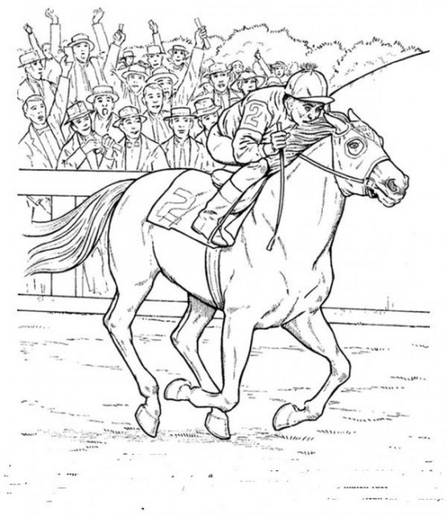 888x1024 Vector Of Cartoon Racing Horse Outlined Coloring Page Free