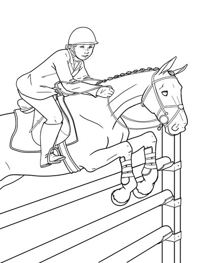 400x518 Images Of Horse Coloring Pages Horses Jumping