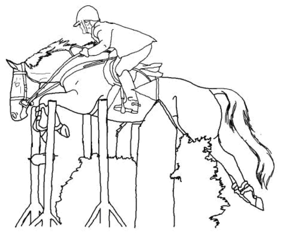 900x800 Jumping Horse Coloring Pages
