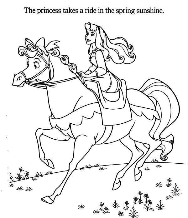 600x698 Princess Aurora, Princess Aurora Riding A Horse Coloring Page
