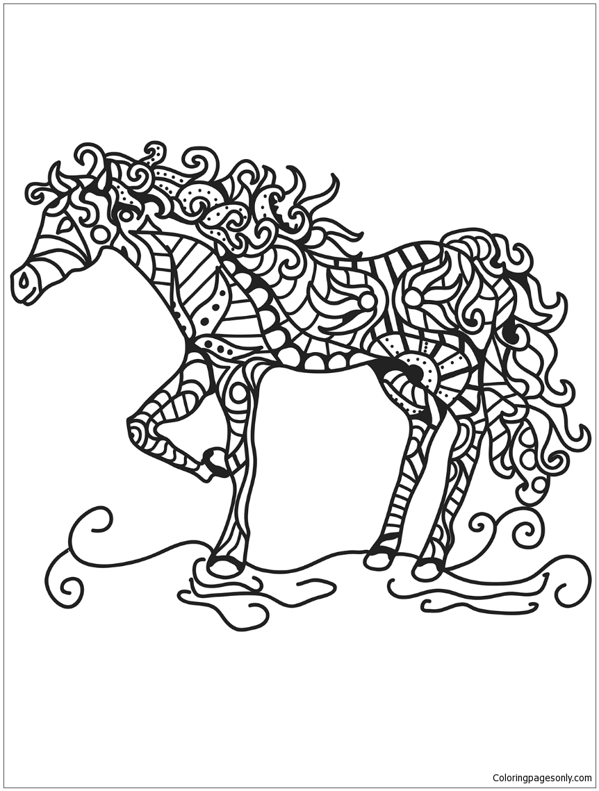 862x1139 Horse Zentangle Coloring Page