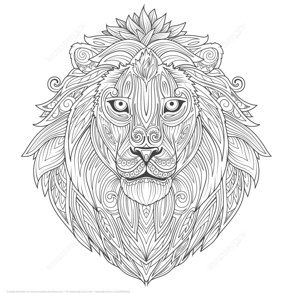 1024x1024 Lion Ethnic Design Zentangle Coloring Page Art Culture Free