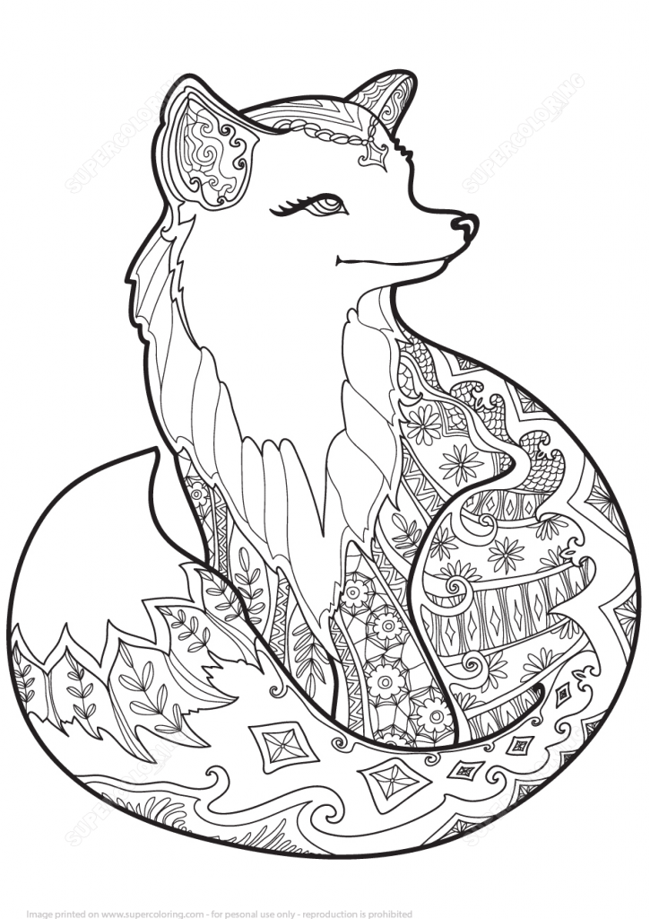 725x1024 Zentangle Fox Design Coloring Page
