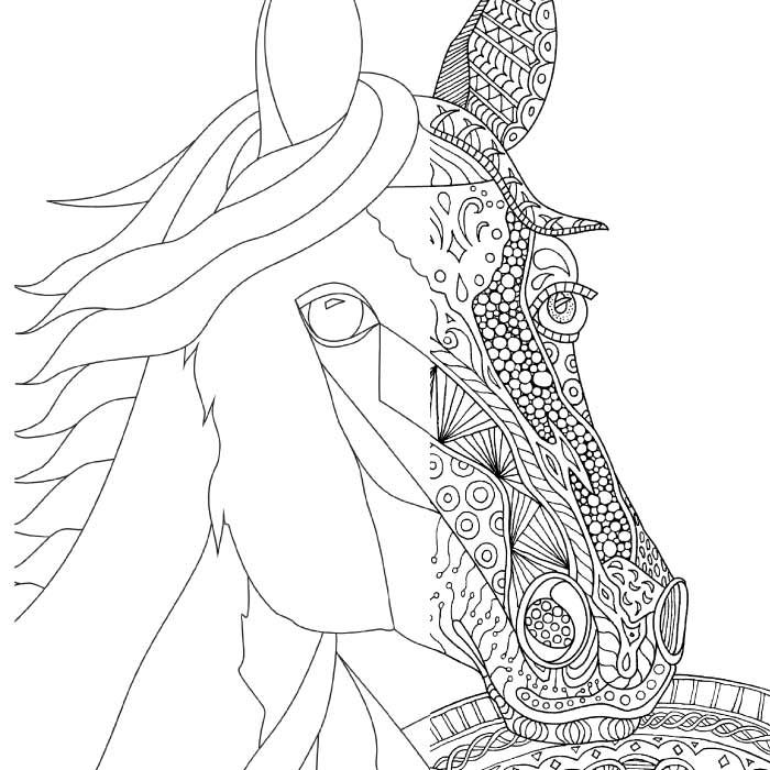 700x700 Zentangle Horse Coloring Page For Adults, Plus Bonus Easy Horse