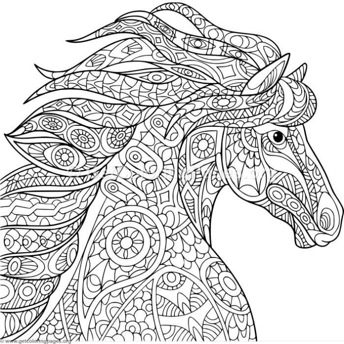 700x700 Zentangle Horse Head Coloring Pages