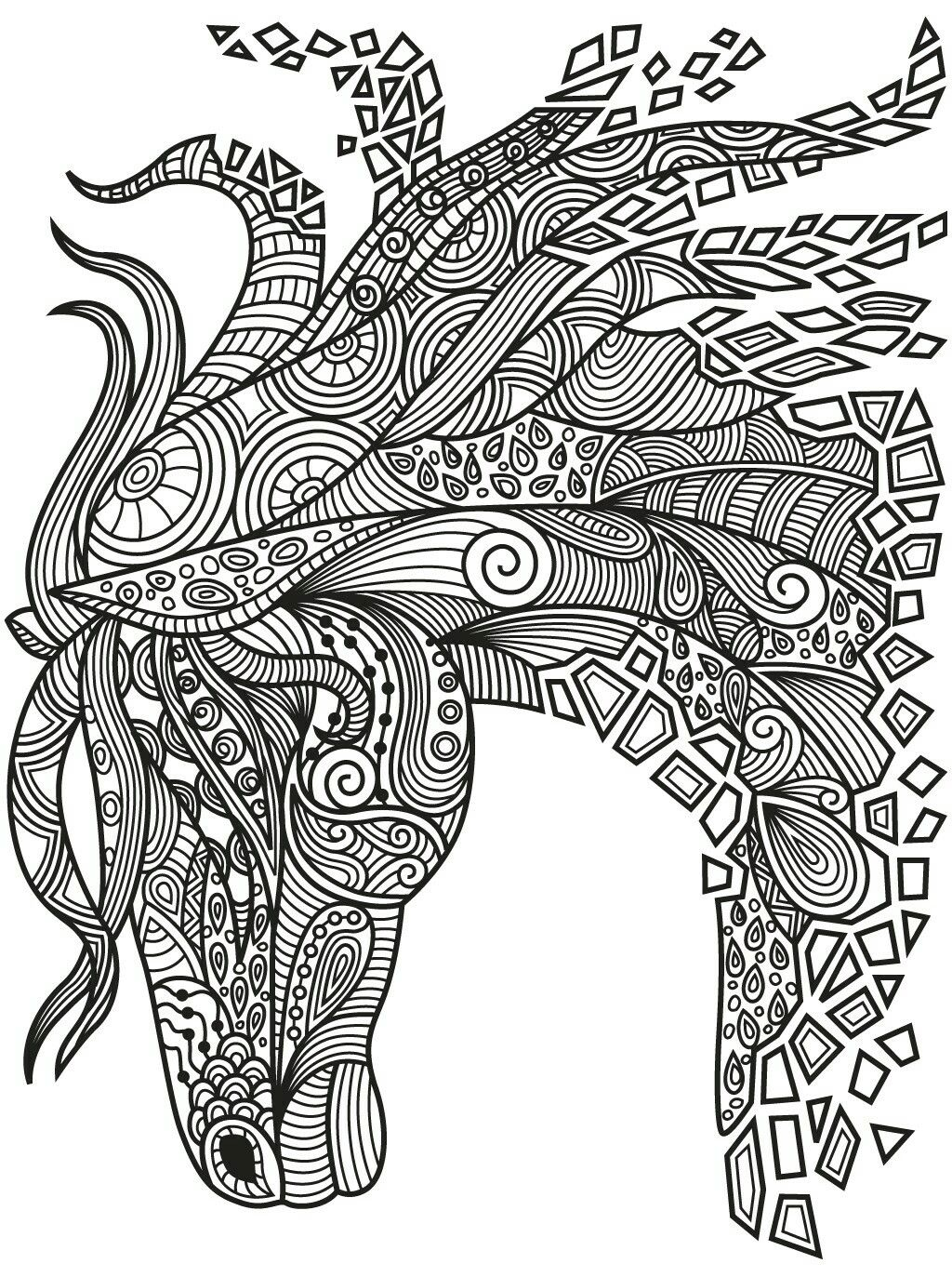 1024x1373 Best Zentangle Horse Colorish Coloring Book App For Adults
