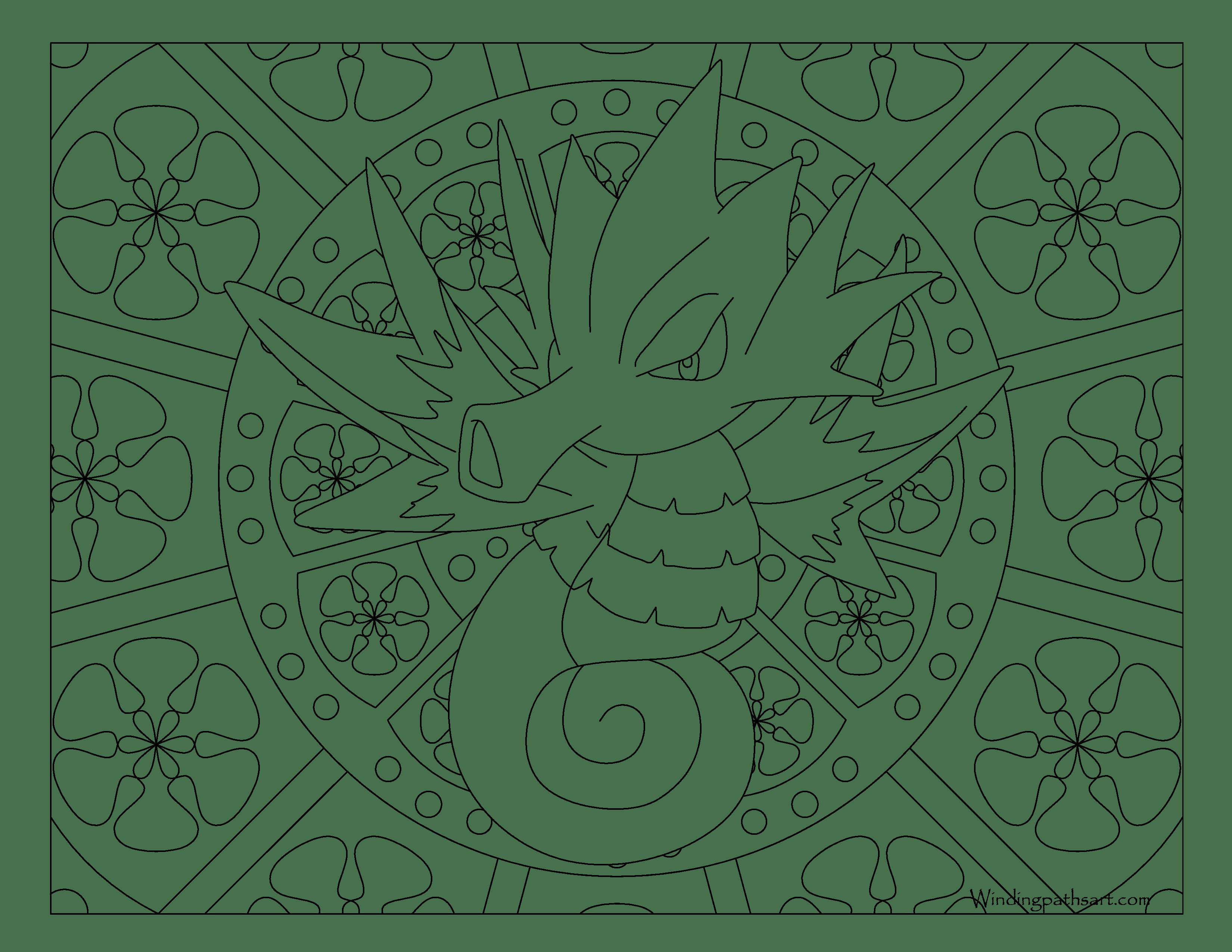 3300x2550 Seadra Pokemon Coloring Page