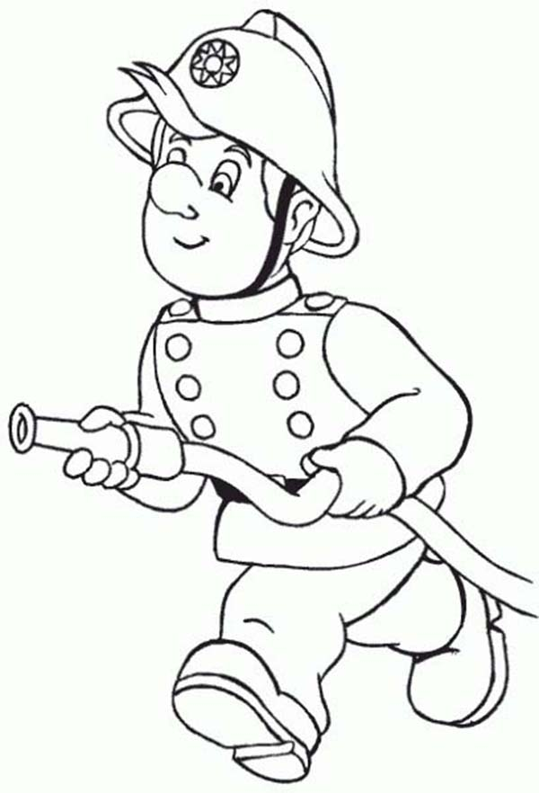600x882 Fireman, Fireman Running With Water Hose Coloring Page For Use
