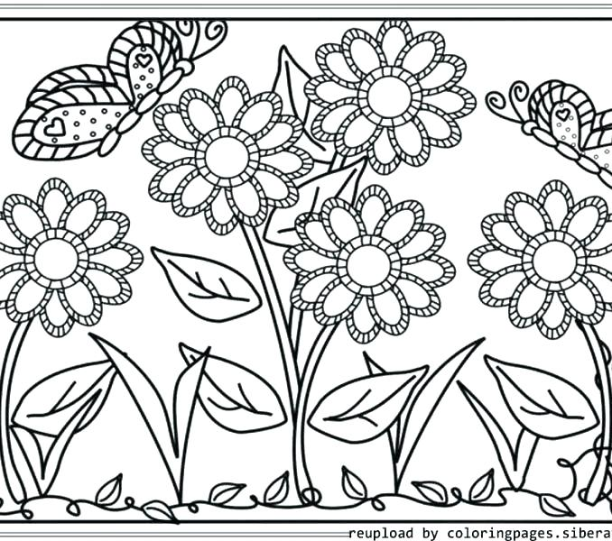 678x600 Garden Coloring Page Gardening Watering Flower With Hose Gardening