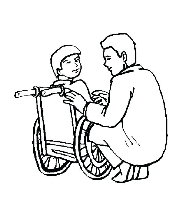 600x684 Coloring Pages Hospital Building Kid Sitting On Wheelchair In P