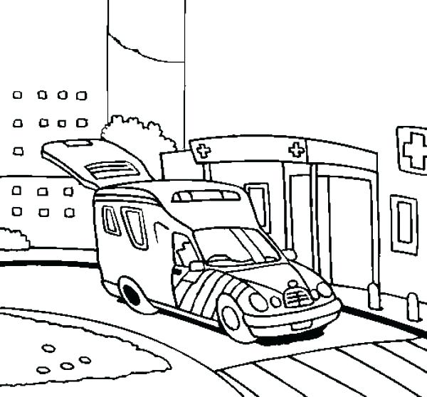 600x558 Hospital Coloring Pages Ambulance Coloring Page An Ambulance