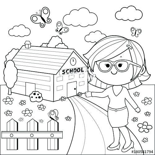 500x500 School Building Coloring Pages Teacher In Front Of School Building