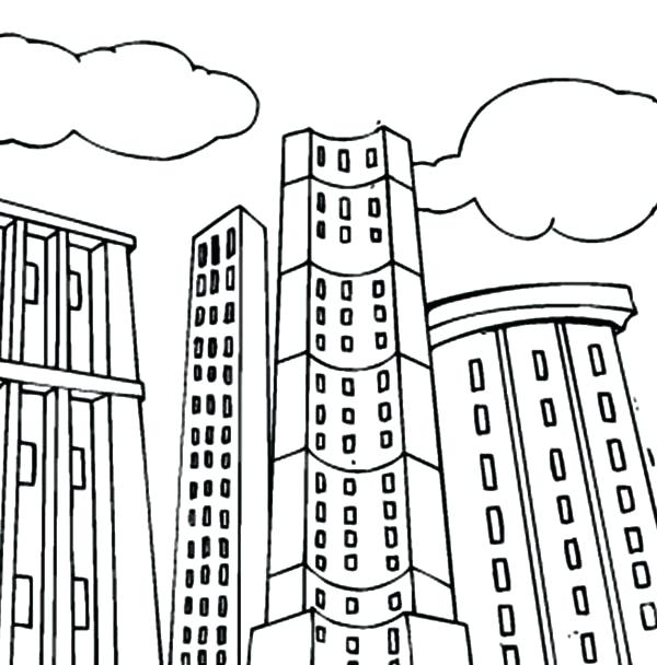 600x608 Building Coloring Page Building Coloring Pages Coloring Pages