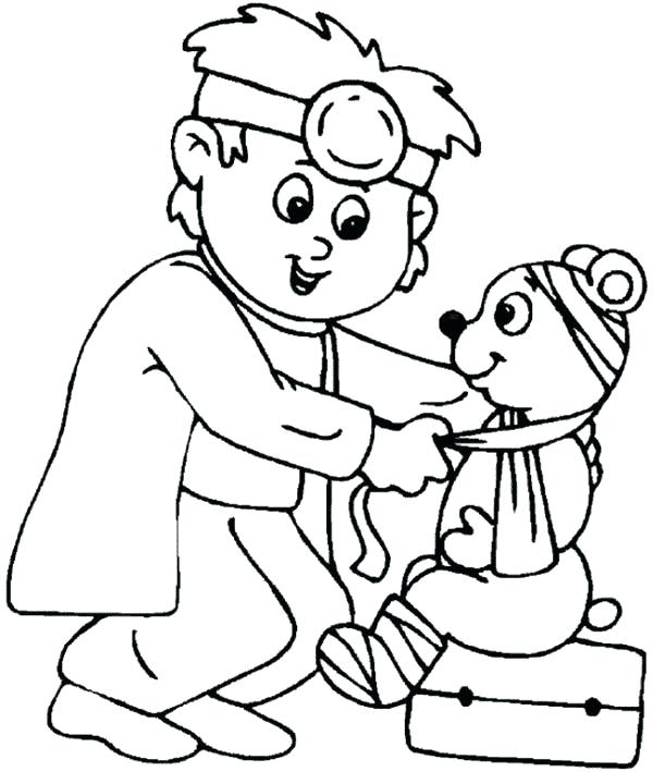 600x709 Hospital Coloring Pages Hospital Little Animal Doctor At Hospital