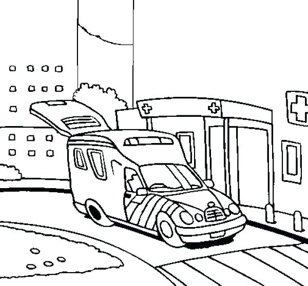 600x558 Hospital Coloring Pages Paramedic Coloring Pages Ambulance