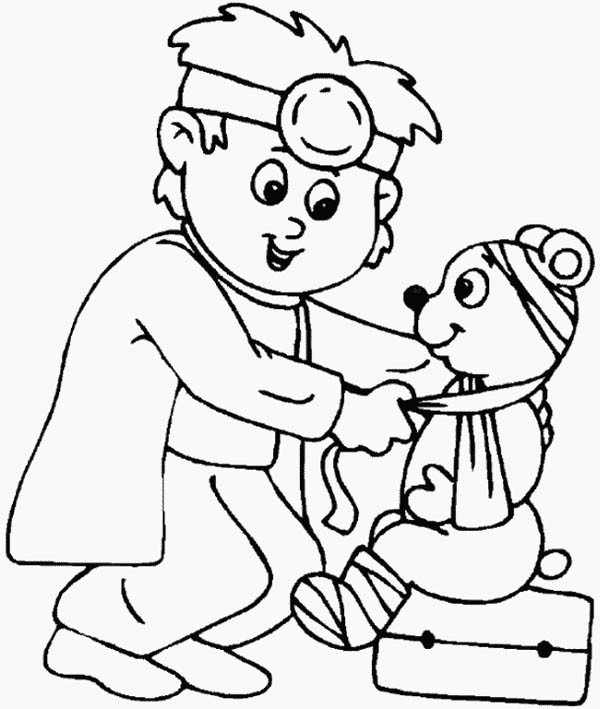 600x709 Doctor Coloring Pages Little Animal Doctor