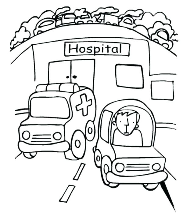600x706 Hospital Coloring Pages Ambulance Coloring Pages Hospital