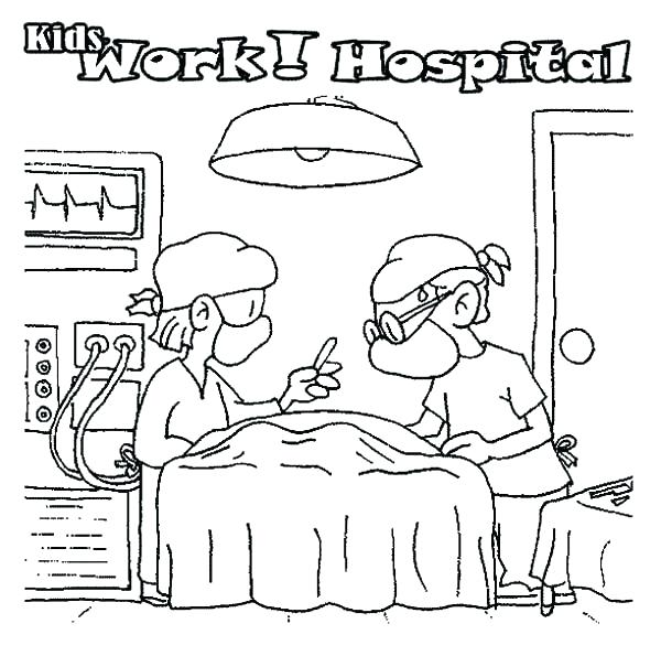 600x595 Hospital Coloring Pages Ambulance Coloring Pages Hospital Coloring