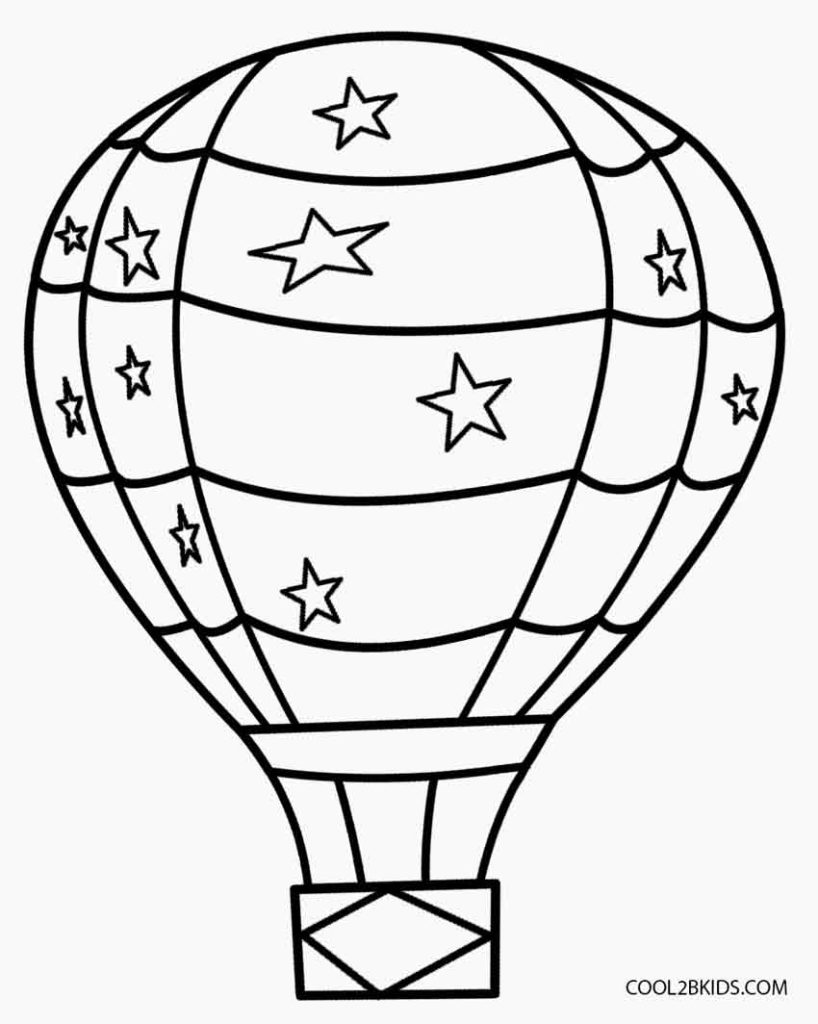 818x1024 Hot Air Balloon Coloring Page