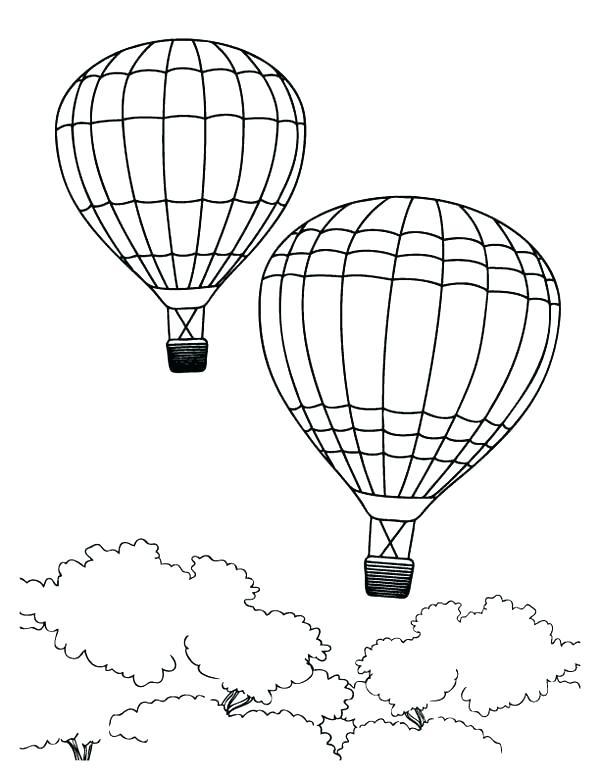600x776 Hot Air Balloon Coloring Sheet Hot Air Balloon Passing Through